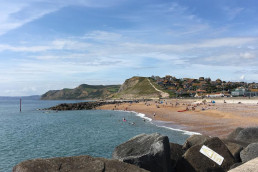 West Bay Beach near Patson Hill's Visit England four star gold holiday cottages